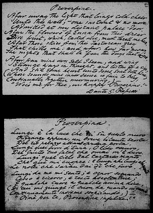 Facsimile images available for Proserpine (For a Picture) (Texas MS, English version)