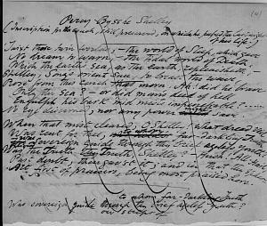 Facsimile images available for Percy Bysshe Shelley (Inscription for the couch, still preserved, on which he                    passed the last night of his life) (Delaware fair copy manuscript)