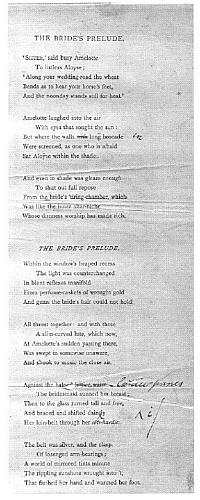 Facsimile images available for The Bride's Prelude (1881 slip proofs, Delaware Museum library)
