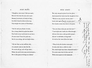 Facsimile images available for Ballads and Sonnets (1881), proof Signature B (Delaware Museum, third revise, WMR's copy)