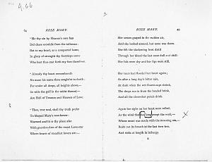 Facsimile images available for Ballads and Sonnets (1881), proof Signature E (Delaware Museum first revise proof)