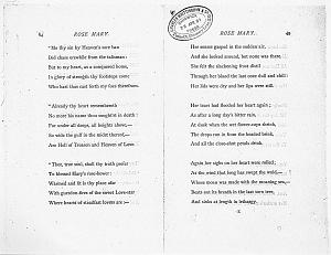 Facsimile images available for Ballads and Sonnets (1881), proof Signature E (Delaware Museum, final revise proof)