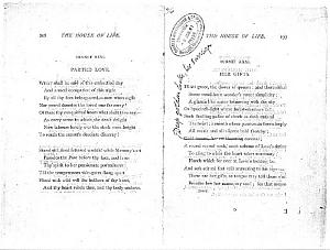 Facsimile images available for Ballads and Sonnets (1881), proof Signature O (Delaware Museum, complete