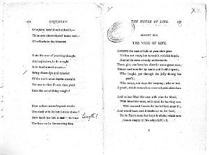 Facsimile images available for Ballads and Sonnets (1881), proof Signature S (Delaware Museum, author's