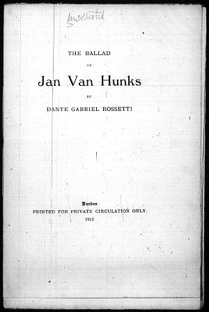 Facsimile images available for Jan Van Hunks (1929)