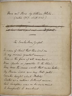 Facsimile images available for Verse and Prose by William Blake