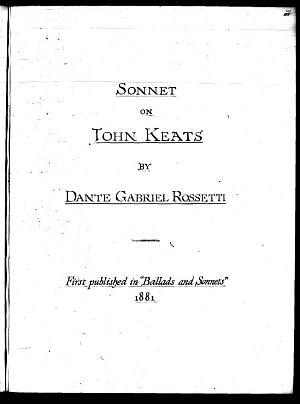 Facsimile images available for John Keats (British Library fair copy)