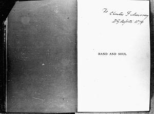 Facsimile images available for Hand and Soul (1869 Pamphlet, Fitzwilliam Museum Copy)