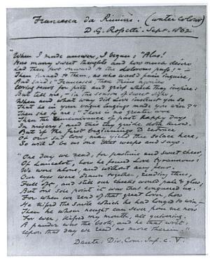 Facsimile images available for Francesca Da Rimini: Dante (fair copy manuscript)