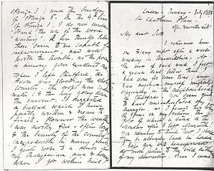 Facsimile images available for Letter to William Bell Scott, July 1853, manuscript