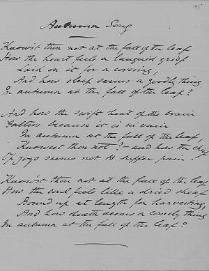 Facsimile images available for Autumn Song (Ashley Library fair copy, three stanza version)
