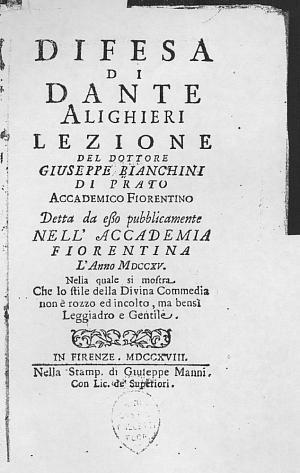 Facsimile images available for Difesa di Dante Alighieri Lezione del Dottore Giuseppe Bianchini de Prato                    Accademico Fiorentino