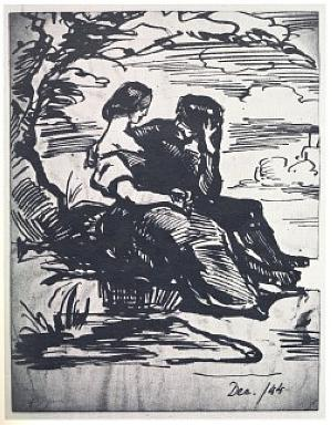 Couple seated beneath a tree