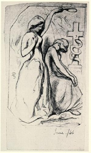 Female figure with serpent-entwined cross