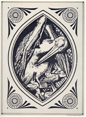Design for sculptured panel: Pelican with Young
