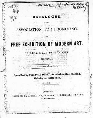 Facsimile images available for Catalogue of the Association for Promoting the Free Exhibition of Modern Art