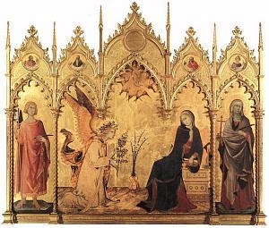 Annunciazione con i Santi Ansano e Margherita nella cuspidi quattro profetti