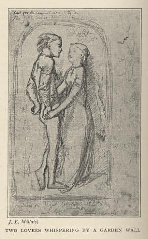 Two Lovers Whispering by a Garden Wall