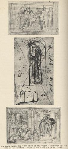 """The First Design for """"The Light of the World,"""" Scribbled on one side on an Envelope. Another for """"The Eve of St. Agnes"""""""