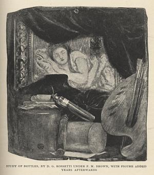 Study of Bottles, by D. G. Rossetti Under F.           M. Brown, with Figure Added Years Afterwards