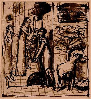 Mary Magdalene at the Door of Simon the Pharisee (early sketch of four