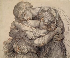 The Blessed Damozel (pencil study for lovers)