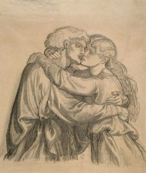 The Blessed Damozel (study for embracing lovers)