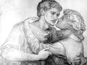 The Blessed Damozel (study for lovers embracing)