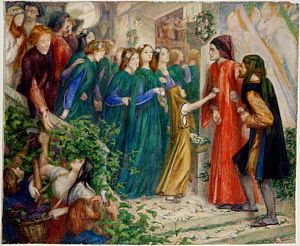 Beatrice Meeting Dante at a Marriage Feast, Denies him her Salutation (watercolour     replica)