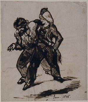 Man Dancing with a Woman in Trousers