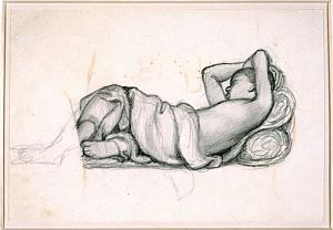 The Return of Tibullus to Delia (pencil study for slave)