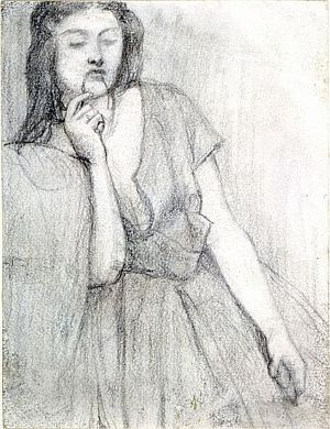 The Return of Tibullus to Delia (pencil study for Delia)