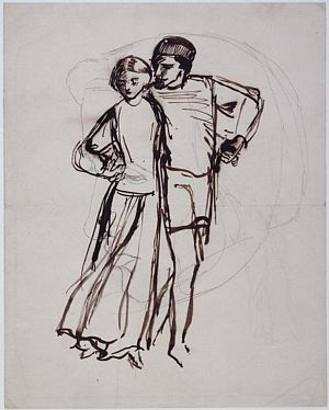 Man and Woman with Arms Entwined, Moving to Left