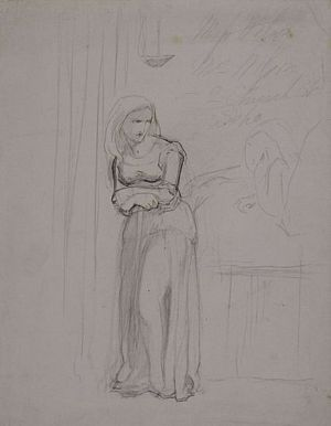 Woman Standing by a Bed