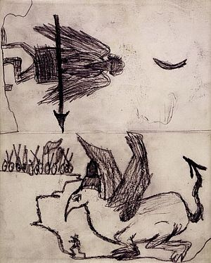 Grotesque Sketches of a Man and a Dragon etc.