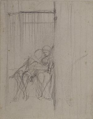 Paolo and Francesca da Rimini (slight sketch for two seated figures)
