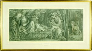 Dante's Dream at the Time of the Death of Beatrice (finished crayon study for Predella 2)