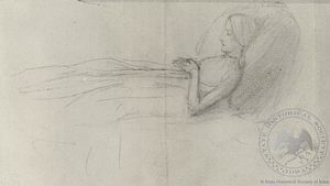 Dante's Dream at the Time of the Death of Beatrice (sketch of Beatrice)