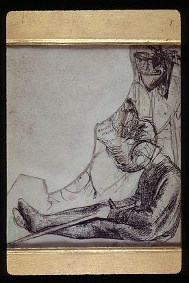 Sir Launcelot's Vision of the Sanc Grael (sketch of Launcelot)