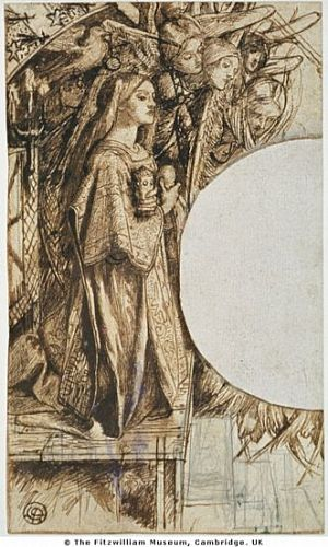 Sir Launcelot's Vision of the Sanc Grael (ink and pencil study for angel)