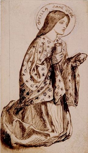 Sir Launcelot's Vision of the Sanc Grael (pen and ink study for angel)