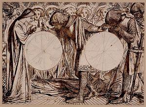 Sir Galahad, Sir Bors and Sir Percival Receiving the Sanc Grael.