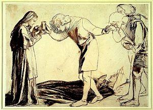 Sir Galahad, Sir Bors and Sir Percival Receiving the Sanc Grael (unfinished study)