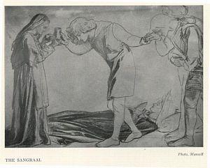 Sir Galahad, Sir Bors and Sir Percival        Receiving the Sanc Grael