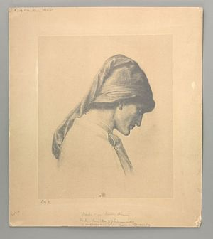 Dante's Dream at the Time of the Death of Beatrice (study for head and shoulders of     Dante) [print]
